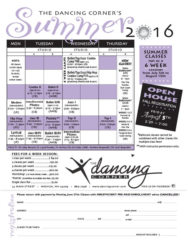 2016 Summer Schedule