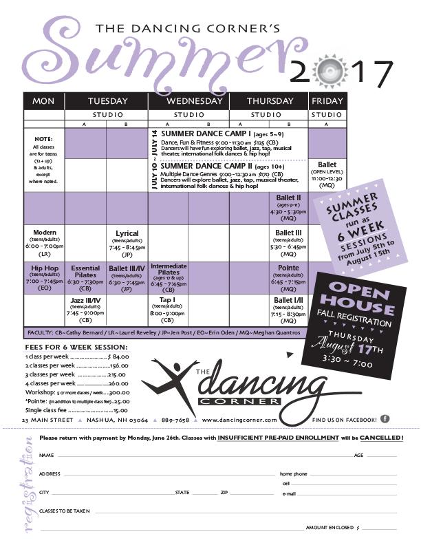 2017 Summer Schedule