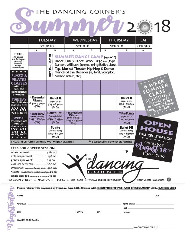 2018 Summer Schedule