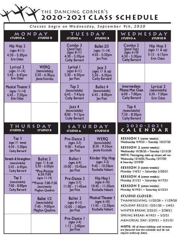 2020-2021 Dancing Corner Class Schedule