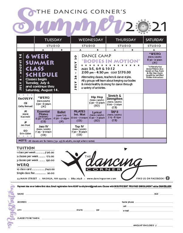 2021 Dancing Corner Summer Schedule